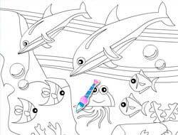 Kleurplaten Dolfijnen Dolfinarium.Spel Kleurplaat Dolfijnen In De Zee Online Speel Gratis